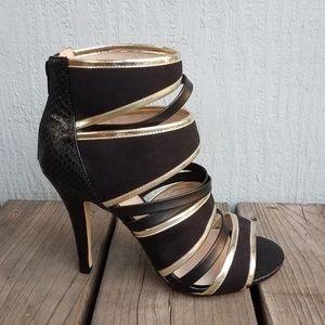 New! Torrid- Black and Gold Strappy GladiatorHeels